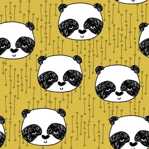 panda // mustard yellow pandas fabric cute illustrated panda bear fabric kawaii fabric andrea lauren