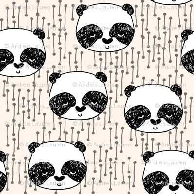 panda // champagne off-white background panda head cute  kawaii illustration scandi panda head by andrea lauren