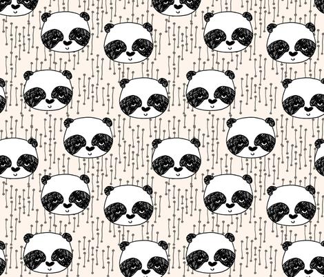 panda // champagne off-white background panda head cute  kawaii illustration scandi panda head by andrea lauren fabric by andrea_lauren on Spoonflower - custom fabric