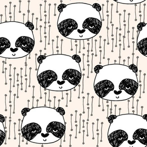 panda // champagne off-white background panda head cute  kawaii illustration scandi panda head by andrea lauren