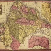 vintage brazil map, large