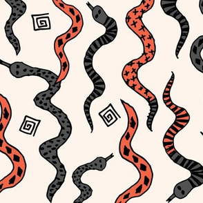 Snakes - Charcoal/Coral/Champagne by Andrea Lauren