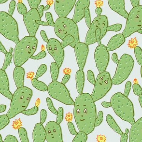 Happy Cactus | Blue Background