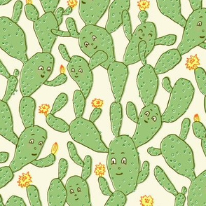 Happy Cactus | Light Peach Background