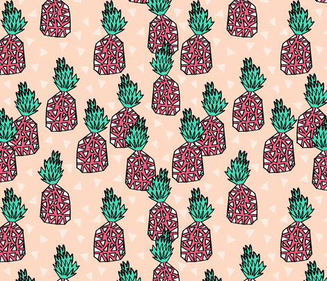 Pineapple - Blush/French Rose/Light Jade by Andrea Lauren fabric by andrea_lauren on Spoonflower - custom fabric