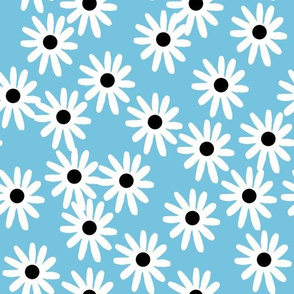 Daisies - Soft Blue/White/Black by Andrea Lauren