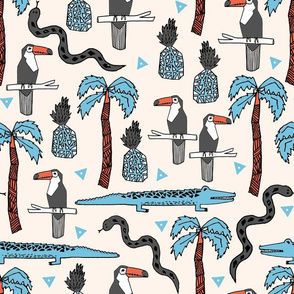 tropical palms // tropical palm tree exotic summer cute toucans
