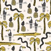 tropical // summer pineapple alligator crocodile kids palms palm tree mustard grey