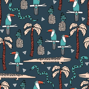 tropical // toucans palms palm tree alligator crocodile summer exotic tropical