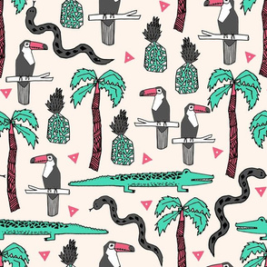 tropical // summer exotic pineapple toucan palm trees snakes cute tropical print