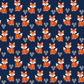 Watercolor Foxes in Navy