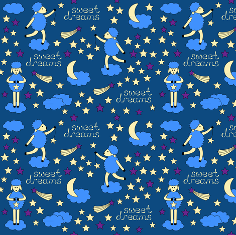 Sweet Dreams bedtime pattern fabric by alenkas on Spoonflower - custom fabric