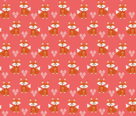 Watercolor Foxes Pink fabric by natitys on Spoonflower - custom fabric