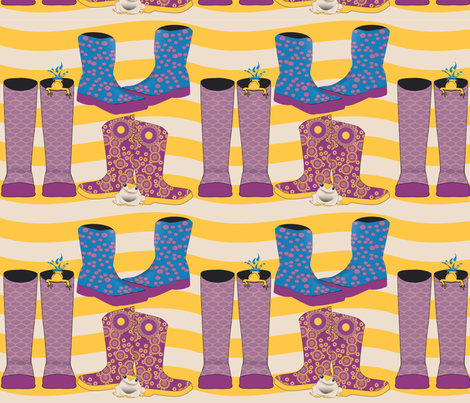 Wellies_Galoshes fabric by theturtletriplet on Spoonflower - custom fabric