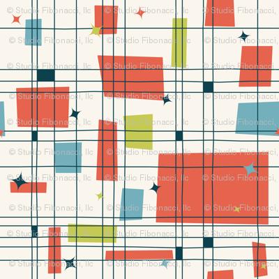 Mid-Century Modern - Grid & Stars (Shrimp)