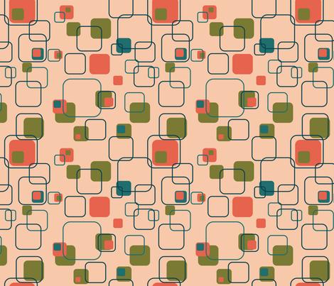 Mid-Century Modern - Retro Squares (Shrimp) fabric by studiofibonacci on Spoonflower - custom fabric