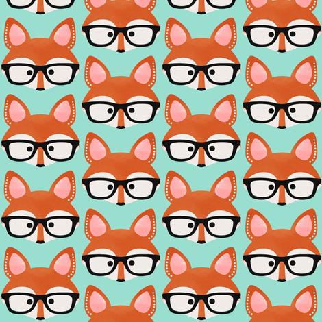 Too Cute Fox Aqua fabric by natitys on Spoonflower - custom fabric