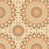Orange, Peach & Brown Ornamental Pattern Design