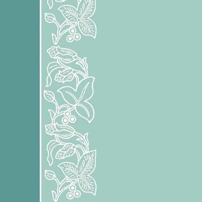 Natural flower border - dress fabric - 54inch-width - double borders - white-sage-bluegreen