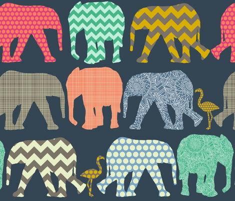 baby elephants and flamingos fabric by scrummy on Spoonflower - custom fabric