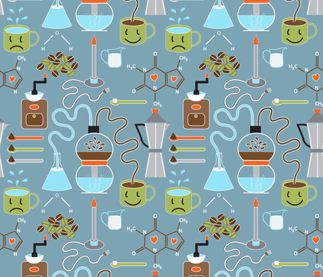 Does coffee = morning happiness?  fabric by vo_aka_virginiao on Spoonflower - custom fabric