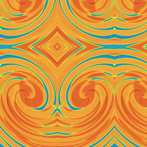 Dramatic Swirl with Diamonds in Orange and Blue
