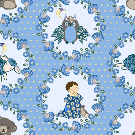 Bedtime Prayers (boy blue) fabric by shellypenko on Spoonflower - custom fabric