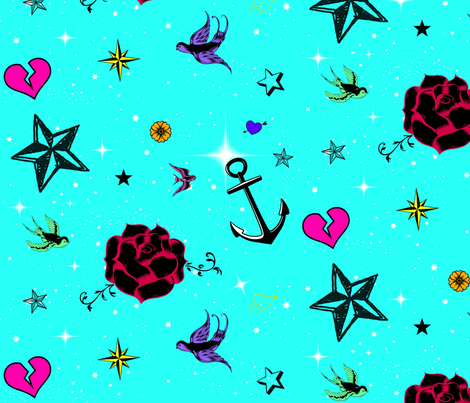 Tattoo Pics Aqua fabric by rockbabyscissors on Spoonflower - custom fabric