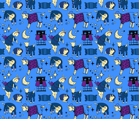 Sleepy Time Goats fabric by katieackley on Spoonflower - custom fabric