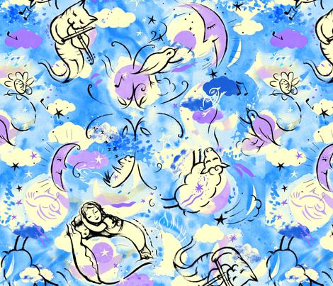 Sleepy_Sparkle_Stars fabric by sandie_tee on Spoonflower - custom fabric