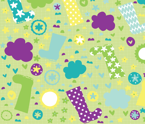 April Wellies fabric by coco_gigi on Spoonflower - custom fabric