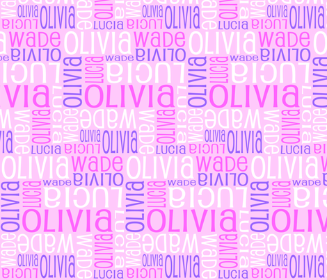 Personalised Name Fabric - Pink Purple White