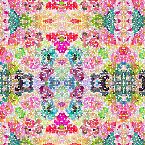 Pointillism inspired floral print -SMALL  fabric by theartwerks on Spoonflower - custom fabric
