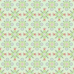 Chick-a-Doodle Cafe Curtain: Mint