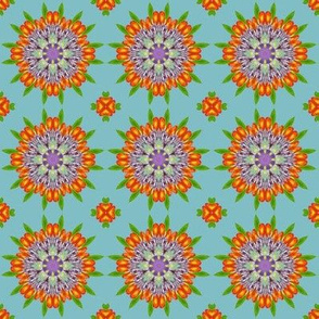 Floral Garden Kaleidoscope on Blue