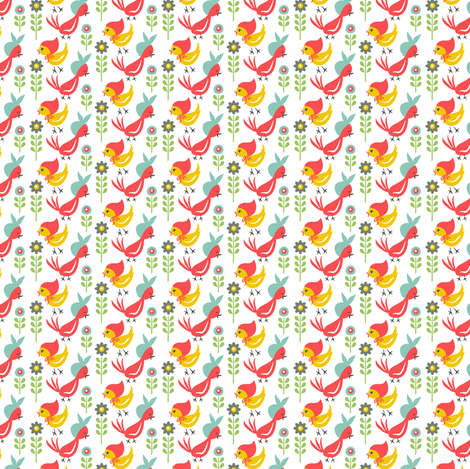 Chick-a-Doodle Mini Henny: White fabric by sheri_mcculley on Spoonflower - custom fabric