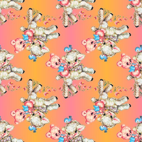 Baby Lamb Bluebird Teddy Bear Stripe Vintage Nursery