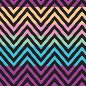 Chevron pastel with black patched