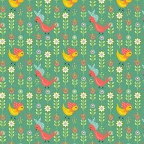 Chicks In Field: Green