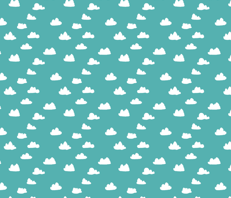 Cloud - Tiffany Blue (Smaller Version) by Andrea Lauren fabric by andrea_lauren on Spoonflower - custom fabric