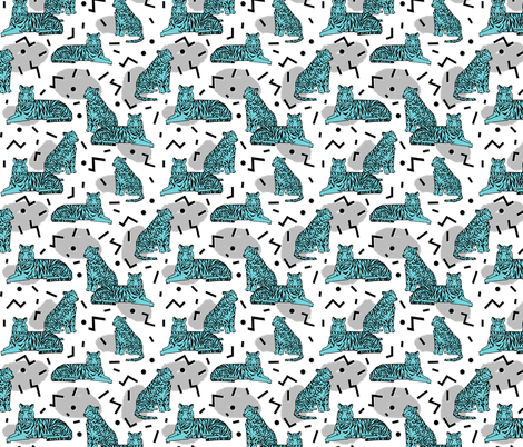 Tiger Party Custom - Slate grey / Aqua fabric by andrea_lauren on Spoonflower - custom fabric