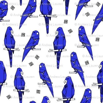 Parrots - Blue/White (Custom) by Andrea Lauren