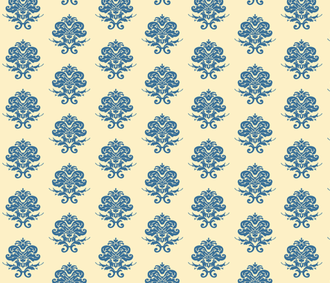 Cream and Blue Damask fabric by littleliteraryclassics on Spoonflower - custom fabric