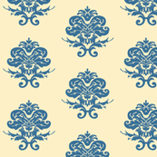 Cream and Blue Damask