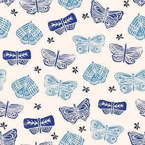 Butterflies -  Champagne/Cobalt Blue/Cerulean by Andrea Lauren