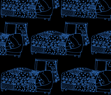 kitty dormitory at night-ch fabric by flying_cat on Spoonflower - custom fabric