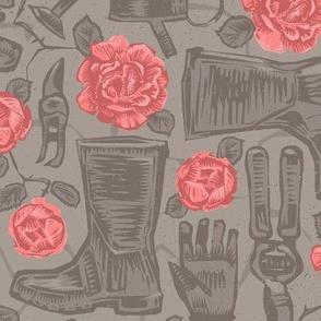 Pink Rose Garden in Gumboots