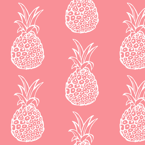 Pineapple Party in Coral Rose fabric by theartwerks on Spoonflower - custom fabric