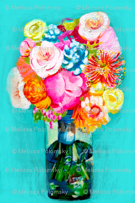 Hot Pink Bouquet in Mason Jar
