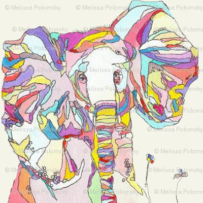 Large Print Colorful Elephant